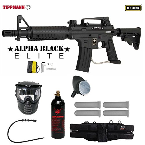 (MAddog Tippmann US Army Alpha Black Elite Tactical Paintball Gun Player Package )