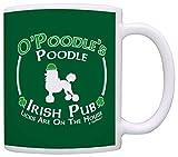 Dog Owner Gift St Patricks Day Poodle Irish Pub Sign Gift Coffee Mug Tea Cup Green
