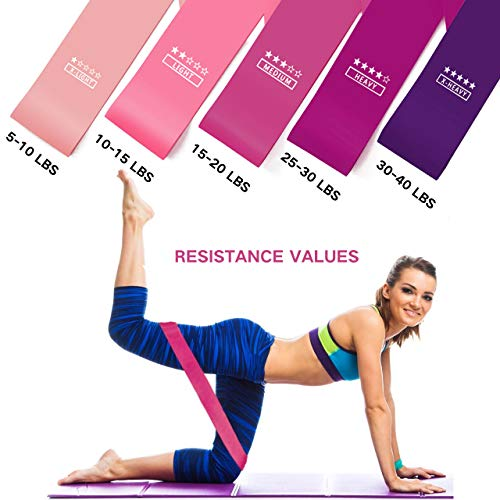 ALLACE Resistance Loop Bands Set of 5 Fitness Bands Perfect for Legs and Butt Yoga Cross fit Strength Training Pilates with Instruction Guide, Carry Bag