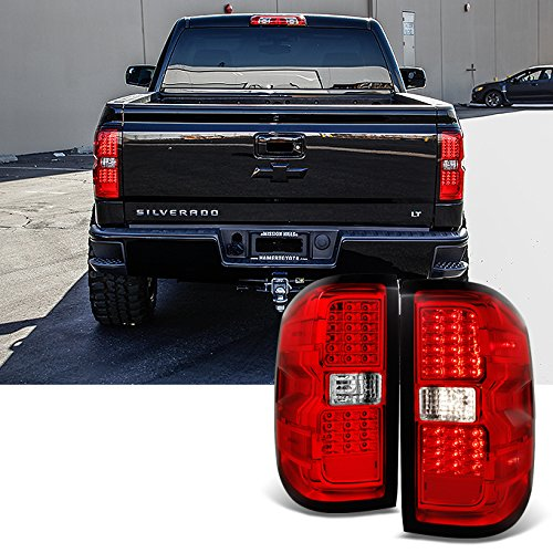 For 2014 2015-2018 Chevy Silverado | GMC Sierra Left + Right Red Replacement LED Tail Lights Tail Lamps ()