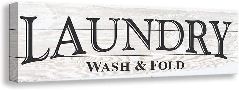 Kas Home Vintage Laundry Room Canvas Wall Art | Rustic Laundry Rules Prints Signs Framed | Bathroom Laundry Room Decor (16.5 x 5.5 inch, Laundry - A)
