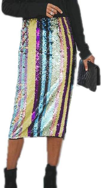 Huateng Falda de Lentejuelas para Mujer Falda lápiz de Cintura ...