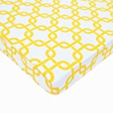American Baby Company Fitted Portable/Mini Crib Sheet, 100% Cotton Percale, Golden Yellow Twill Gotcha