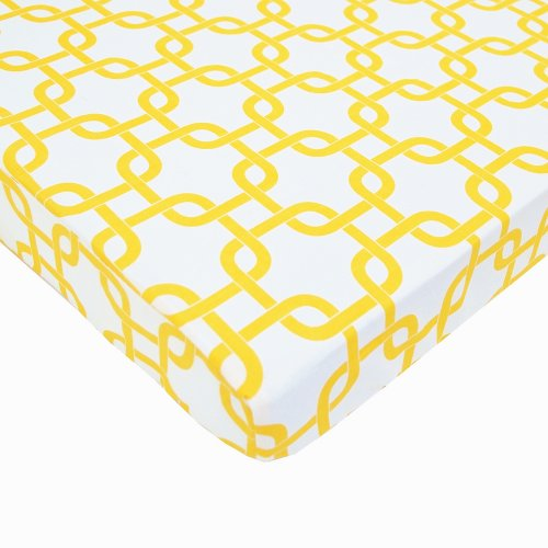 - American Baby Company Fitted Portable/Mini Crib Sheet, 100% Natural Cotton Percale, Golden Yellow Twill Gotcha, Soft Breathable, for Boys and Girls