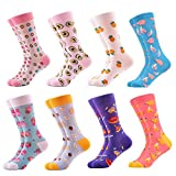 WeciBor Women's Funny Fruit Patterned Casual Combed Cotton Socks 8 Packs