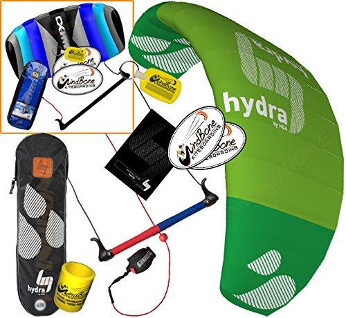 HQ Hydra II 350 V2 Kiteboarding CX Trainer Kite Bundle : (5 Items) Includes 2ND Control Bar Kite : CX 1.5M Foil Control Bar Trainer Kite + WindBone Kiteboarding Lifestyle Decals + WindBone Kitesurfing Key Chain + WB Kiteboarding Koozy Cooler : Water Trainer Foil Traction Power Kite