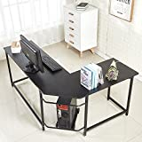 EGNM L Shaped Home Office Corner Computer Desk with CPU Stand PC Table Workstation Wood & Metal (Black)-by