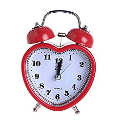 ZHOUXINGG Heart Shaped 3 inch Twin Bell Alarm Clock with Night Light, Battery Operated Loud Alarm Clock, 12 Hour Display