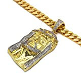 Men's Gold Tone New Fully Iced Out CZ 3D Jesus Pendant Hip-hop with 10 mm 30'' Thick Cuban Chain 2