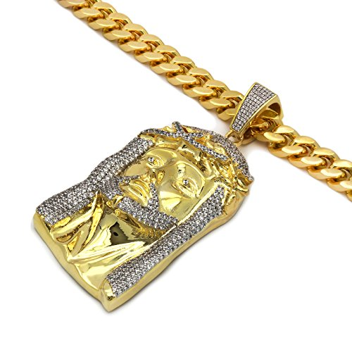 Men's Gold Tone New Fully Iced Out CZ 3D Jesus Pendant Hip-hop with 10 mm 30'' Thick Cuban Chain 2 by L & L Nation