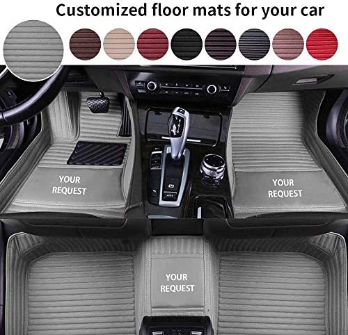 ytbmhhuoupx Custom Floor Mats Fit for Car SUV Van & Truck Sedan Coupe,Luxury Leather Stripes Waterproof Protection Floor Liners, Gray