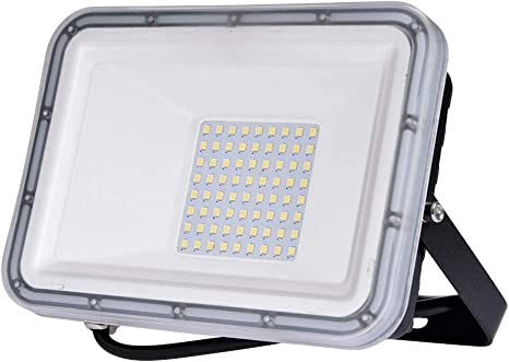 with a US 3-Plug Led Flood Lights 50W 5000LM Cold White Outdoor Security Floodlights IP65 Waterproof for Garage Billboard Garden Stairs 6500K AC110V
