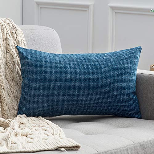 MIULEE Decorative Lumbar Throw Pillow Covers Farmhouse Style Linen Cushion Cases Vintage Decor Blue Pillow Cases for Couch Sofa Bedroom Car 12 x 20 Inch 30 x 50 cm (Long Pillows Extra Couch)