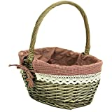 east2eden Antique Brown Willow Wicker Traditional Shopping Easter Basket with Patchwork Liner in Choice of Sizes & Deals (Small) by east2eden