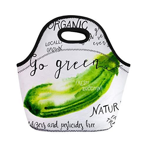 [해외]Semtomn 네오프렌 점심 토트 백 수채화 호박 1950 년대 농민 시장 재사용 가능한 쿨러 가방 절연 열 피크닉 핸드백 TravelSchoolOutdoorsWork / Semtomn Neoprene Lunch Tote Bag Watercolor Zucchini in 1950S 1960S for Farmers Market Reusable C...
