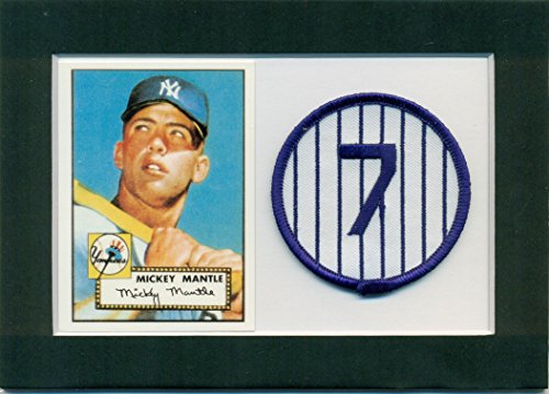 1952 Topps 311 Mickey Mantle - Mickey Mantle 1952 Topps Rookie Reprint #311 and Embroidered Patch Matted - Ready for Frame
