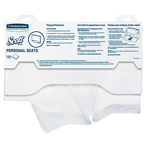 Scott Pro Toilet Seat Cover (07410), White, Disposable, 125 Covers / Pack, 24 Packs / - Toilet Kimberly Clark Seat Covers