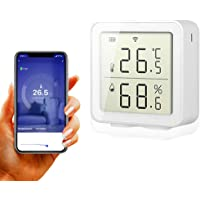 BNTTEAM Smart WiFi Higrómetro de Temperatura Interior al Aire Libre Sensor de Humedad La Alarma Funciona con Alexa…