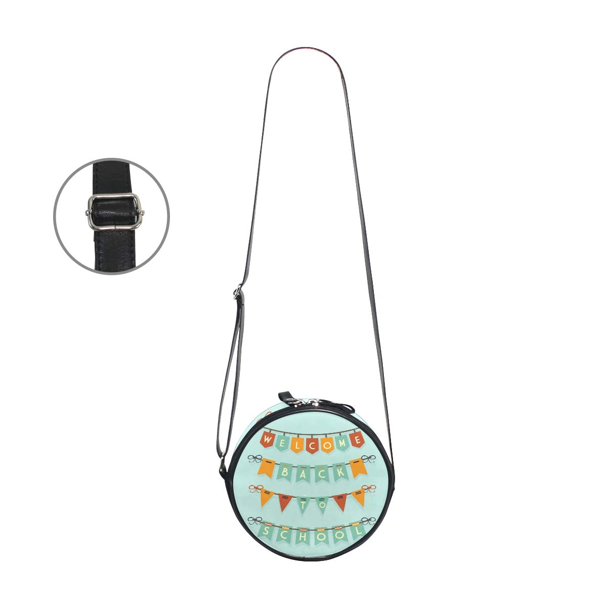 KEAKIA Back To School Buntings Round Crossbody Bag Shoulder Sling Bag Handbag Purse Satchel Shoulder Bag for Kids Women