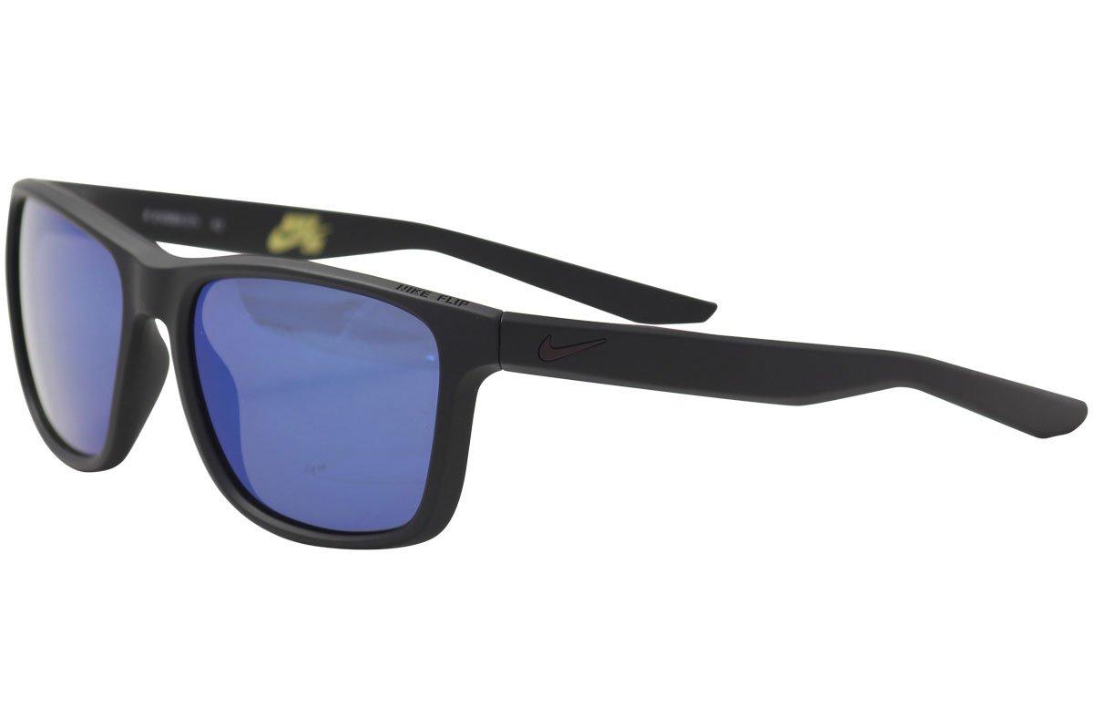 NIKE EV0989-074 Flip M Frame Grey with Blue Pacific Mirror Lens Sunglasses, Matte Black/Port Wine