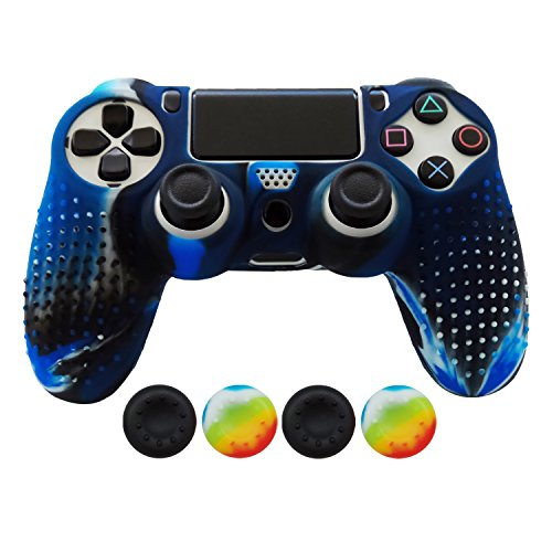 hikfly-non-slip-studded-rubber-oil-silicone-controller-cover-with-4pcs-thumb-grips-caps-kit-for-sony