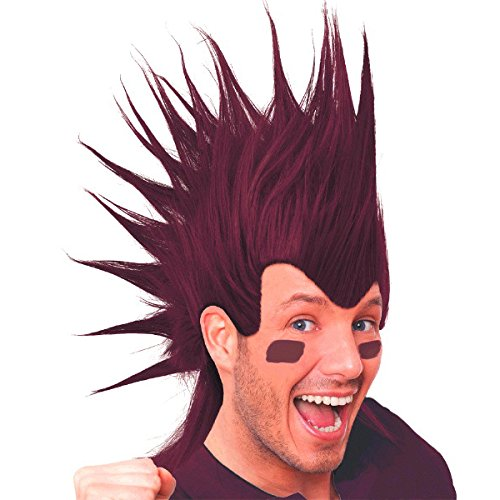 amscan Burgundy Mohawk Party Wig Costume, 3 Ct. by amscan (Image #1)