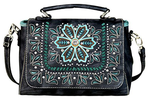 Black Embroidered Crossbody Montana West Handbag Top Handle Purse r0wqf5aqn
