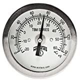 "Winters TBM Series Stainless Steel 304 Dual Scale Bi-Metal Thermometer, 2-1/2"" Stem, 1/4"" NPT Fixed Center Back Mount Connection, 2"" Dial, 0-140 F/C Range"