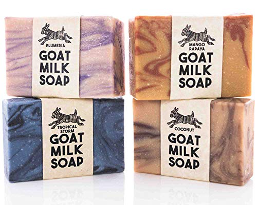 Bali Tropical Variety Pack ~ Creamy Goats Milk Soap | All Natural Organic Ingredients | Coconut, Mango Papaya, Tropical Storm & Plumeria | SLS, BPA & Paraben Free! Handmade in the USA!