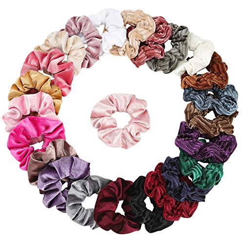 Velvet Scrunchies 24 Assorted Scrunchies for Hair Accessories for Girls and Women-