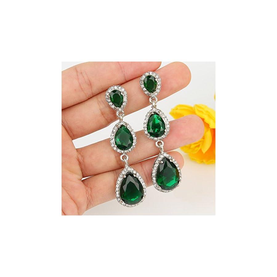 EVER FAITH Silver Tone 3 Teardrop Emerald Color Birthstone CZ Crystal Dangle Earrings