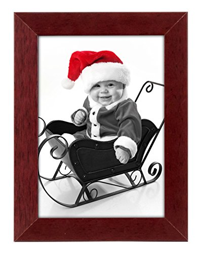5x7 inch Brown Picture Frame - Displays 5x7 Inch Pictures - Made for Desktop and Wall Display