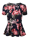 Doublju Stretchy Flare Peplum Blouse Tops for Women with Plus Size FLOWERNAVY 2XL