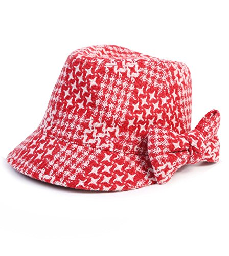 SVG Women's Wool Cloche Newsboy Beret Cap Winter Golf Hat Houndstooth Print Red