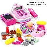 Lembeauty Children's Role Play Toy Supermarket Cash Register Kids Cashier Till with Scanner and Card Reader for Kids Chirdren Girls Over 3 Year Old (Random Color)