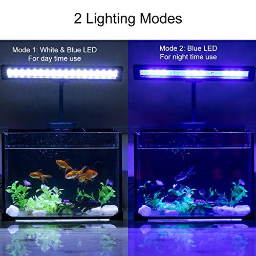 Hygger Aquarium Fish Tank Light, White and Blue LEDs, Clip on Led Clamp Light for Aquarium Lighting, with Adjustable Big Clip and Flexibel Neck (45 LED, Clip 0.98 inch)