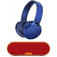 Sony XB950B1 Extra Bass Wireless Headphones (Blue) with Portable Wireless Bluetooth Speaker (Red)