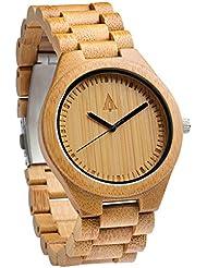 Treehut Mens Bamboo Wooden Watch with Zebrawood Wood Strap Quartz Analog wit.