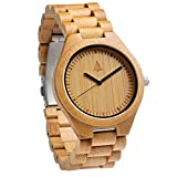 Treehut Men's Bamboo Wooden Watch with Zebrawood Wood Strap Quartz Analog wit.