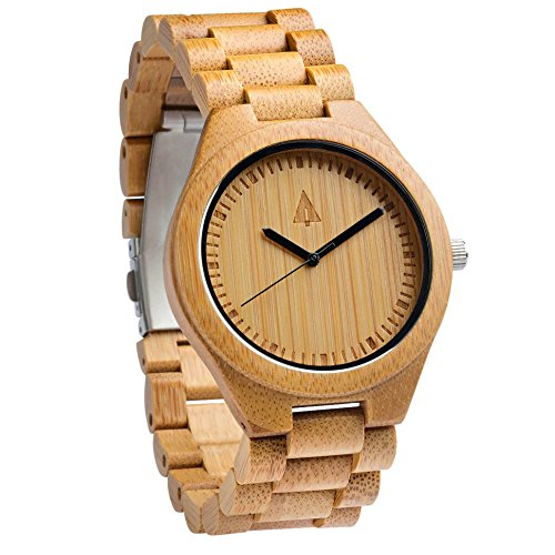 Treehut Men's Bamboo Wooden Watch with Zebrawood Wood Strap Quartz Analog wit...
