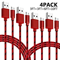 Micro USB Cable, Bigear 4Pack [3FT 3FT 6FT 10FT] Premium Nylon Braided Micro USB Cable High Speed USB 2.0 A Male To Micro B Sync And Durable Charging Cable for Samsung, HTC, Motorola, Nokia, Android(Red)