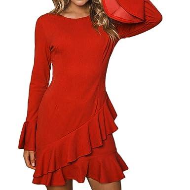Damen Elegant Kleider T-Shirt Minikleid Langarmkleid Hülsen Strandkleid  Lose Einfache Einfarbig Maxi Kleidet beiläufige Lange Rüschen Frauen  Langarm Casual ... 90fbc23f33
