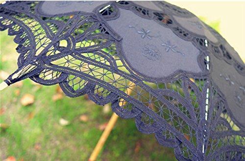 Saitec® 30'' New Arrival Black Old Fasion Embroidered Lace Parasol Sun Umbrella Wedding Bridal Party Decoration by Saitec (Image #5)