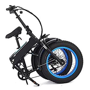 Folding Fat Tire Electric Bike with Shimano 6 Speeds Gear for Women or Men, Mountain Snow Beach Bicycles 48V SAMSUNG Lithium Battery [US STOCK] (Light Blue)