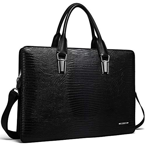 Cluci Leather Briefcases for Men 14 Inch Laptop Vintage Slim Business Women Shoulder Bag Black