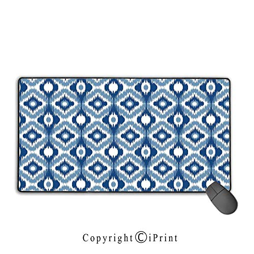 Stitched Edge Mouse pad,Ikat,Ethnic Ikat Design with Regular Multi Shaft Loom Uneven Twill Trend Motif Decorative,Dark Blue and White,Premium Textured Fabric, Non-Slip Rubber Base,15.8
