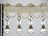 """4"""" Exquisite Tassel Fringe Bead Trim Ivory Per Yard"""