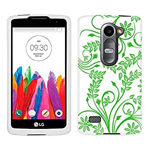 LG Leon Case, Snap On Cover by Trek Twigs Flowers Green on White Case
