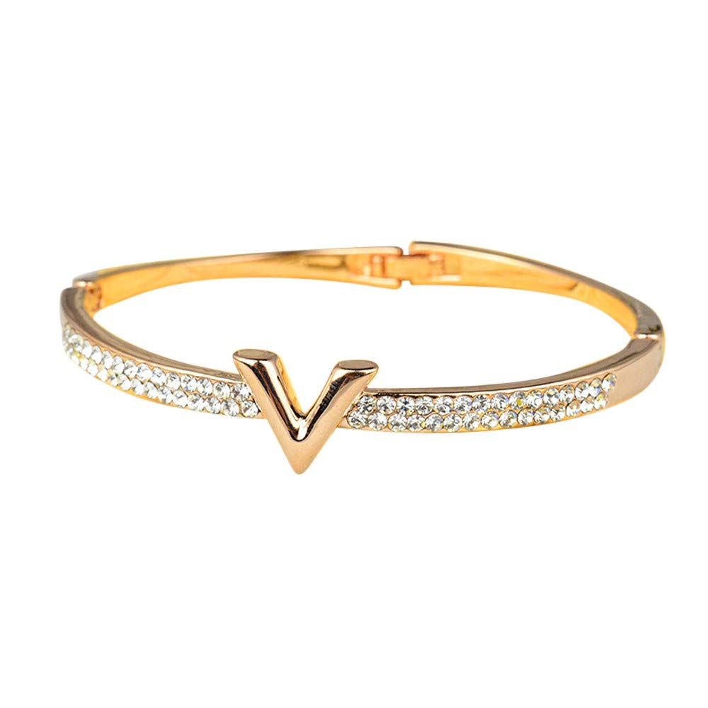 Hyuniture Mothers Day Bracelet Noble and Versatile V-Shaped Gold and Silver Diamond Bracelet for Teen Girls