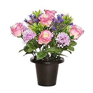 Floristrywarehouse Weighted Grave Pot Pink Open Rose and Alliums 18